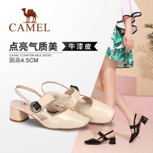 骆驼女鞋 2018夏季新款时尚优雅真皮包头方跟套脚港味复古凉鞋女