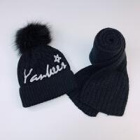 秋冬季儿童针织帽子女宝宝护耳毛线帽围巾两件套加绒男童保暖帽子 黑色 字母星星 均码