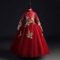 花童礼服女儿童婚纱女童公主裙婚礼红色长袖蓬蓬纱主持人演出服秋 酒红色