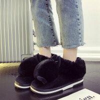 棉拖鞋女冬保暖防滑毛毛月子鞋2018新款居家�n版厚底包跟可�弁闲�