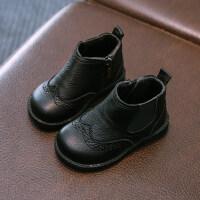 婴儿马丁靴宝宝鞋1-3岁2儿童马丁靴女童皮鞋婴儿加绒棉靴短靴子2018秋冬季款 TBP