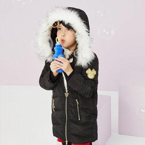 【1件3折到手价:178.5】美特斯邦威旗下moomoo童装女童羽绒服冬季新款中大童毛领中长款拉链羽绒服