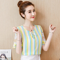 短袖雪纺衫女夏季新款韩版时尚小清新上衣夏装洋气小衫衣潮