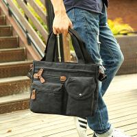 手提包男士公文包横款休闲帆布男包单肩斜挎包短途旅行电脑包