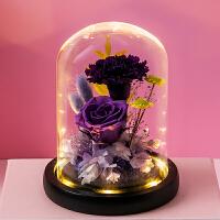 永生花礼盒520康乃馨玻璃罩玫瑰花束摆件生日送女朋友情人礼物 50紫霞B夜灯 【无法刻字】