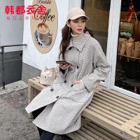 【1件3折387元】韩都衣舍2019冬装新款女装韩版宽松中长款格子毛呢外套JM9902�R