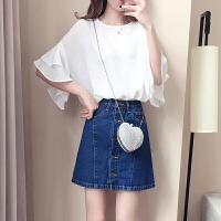 2018夏装新款女装韩范潮短袖圆领衬衫修身时尚蕾丝雪纺衫上衣夏季 白色