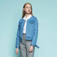 【全场2件2.5折,到手价:59.8】美特斯邦威外套女新款短款潮流百搭时尚牛仔茄克