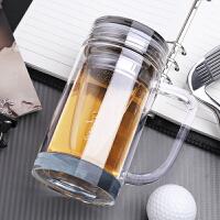 双层水晶玻璃杯保温带盖手柄办公室水杯商务过滤泡茶杯