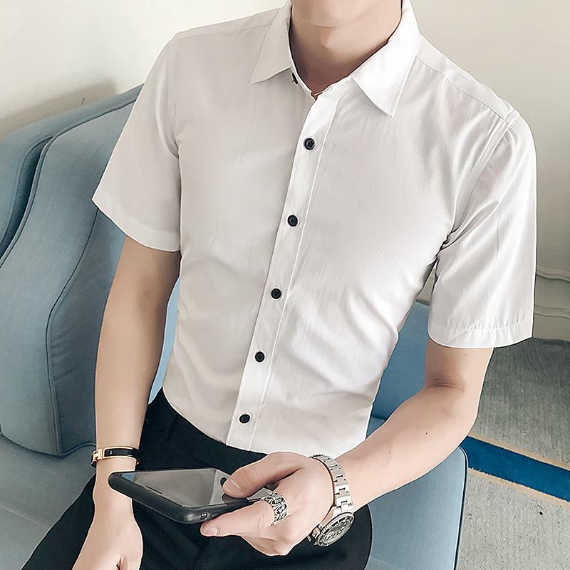 男装夏季男士修身寸衫短袖休闲衬衫新款韩版修身纯色衬衫16