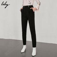Lily春新款女装高腰撞钉修身显瘦萝卜裤休闲裤118359C5917