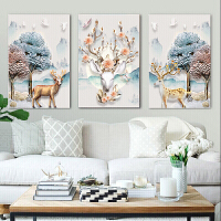 十字绣客厅精准印花福鹿钻石画三联画钻石画