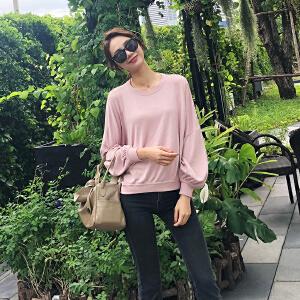 针织衫女套头长袖韩版宽松薄款2018新款秋季复古灯笼袖小清新毛衣