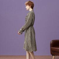 【1件3折到手价:76.5】美特斯邦威连衣裙女秋装新款女肌理雪纺碎花收腰中长款裙子