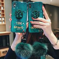 祖母绿毛球苹果x手机壳7p水钻支架iPhone8plus硅胶xr时尚6s女款新款挂绳iPhone iPhone x-祖