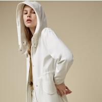 【2件1.5折价:139.4】MECITY女装春季白色连帽韩版中长款风衣外套