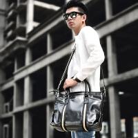 手提包 条纹公文包韩版斜挎包电脑包时尚男包潮