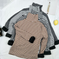 长袖T恤女韩版修身显瘦高领条纹加绒保暖内搭秋冬打底衫体恤上衣