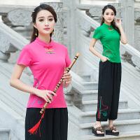 2018夏装新款 中国风女装 立领盘扣绣花上衣 民族风短袖刺绣T恤女
