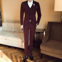 西服套装男士三件套韩版青年帅气英伦风修身西装伴郎新郎结婚礼服