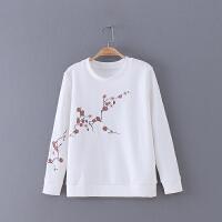 049 女装 春季新款刺绣绣花圆领直身上衣长袖时尚女式卫衣