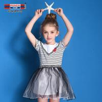 【2折价:39.8】铅笔俱乐部童装2019夏装新款女童连衣裙公主裙儿童条纹短袖连衣裙