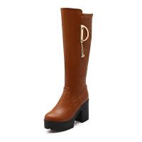 侧拉链厚底高跟鞋及膝靴长靴秋冬季靴子高筒靴粗跟女鞋骑士靴女靴真皮