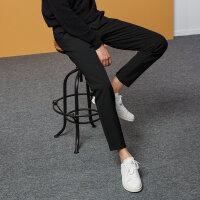 【全场2件2.5折,到手价:52.5】美特斯邦威休闲裤男2018冬季新款时尚潮流学生质感棉锦修身长裤