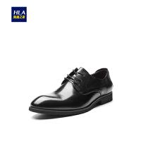 HLA/海澜之家商务圆头皮鞋2018秋季新品系带正装皮鞋男士