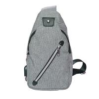 韩版单肩斜挎包男士户外运动胸包休闲背包多功能帆布小腰包可充电