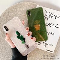 仙人掌贝壳纹iPhone6s手机壳7P有趣的xs max苹果x夏季8plus网红xr 6/6S 白底栀子叶贝壳纹IMD