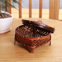 0715232514396纯手工复古竹编织篮子茶几茶具收纳筐茶道水果糖果盒家用带盖圆形