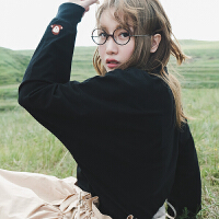 2018秋季上衣新款薄外套 日系原宿风黑色宽松套头卫衣女秋 黑色 .