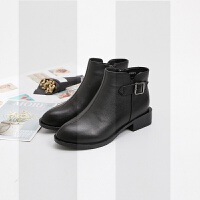 靴子女粗跟短靴18秋冬新款西靴英伦风时尚显瘦裸靴网红方头靴女SN8800 黑色