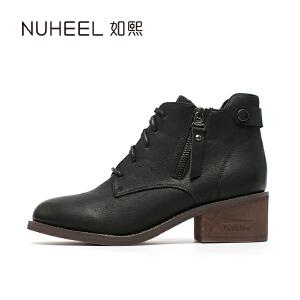 如熙 2017秋冬新款女靴 精致侧拉链 舒适牛津底时尚女靴