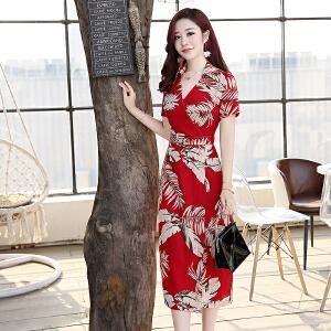 2018夏季新款雪纺连衣裙女中长款红色短袖修身收腰衬衫裙气质长裙