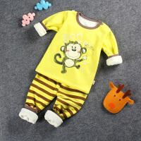 宝宝保暖衣套装加绒加厚1-3岁婴儿冬季儿童秋衣女童秋裤男童内衣0
