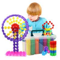 儿童益智加厚桶装大号雪花片 幼儿园拼插积木插片玩具批发3-6周岁