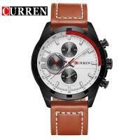 卡瑞恩8216皮带假三眼大表盘石英手表外贸热销皮带手表