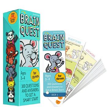 英文原版Brain Quest for Threes 3-4岁 智力问答开发卡片书 超强大脑大奖 学前全科练习获奖系列 儿童启蒙读物 益智早教进口
