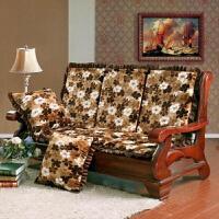 实木沙发垫带靠背连体防滑加厚海绵三人座红木沙发坐垫木头椅垫子 粉红色 小白花