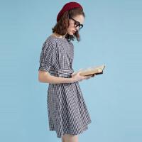 【1件2.5折叠券约:29.8,6月5日仅此一天】美特斯邦威条纹连衣裙女夏装新款绑带复古风学院都市时尚裙子