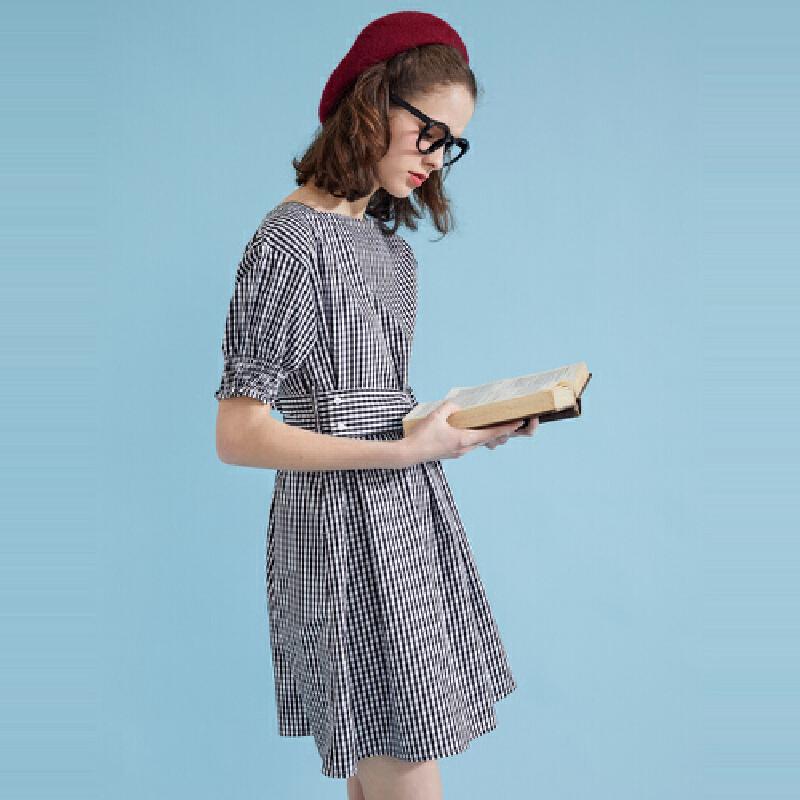 【1件2.5折到手价:38.8】美特斯邦威条纹连衣裙女夏装新款绑带复古风学院都市时尚裙子 美特斯邦威超品日,千款限时1件2.5折,还能叠券!