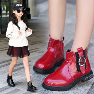 女童马丁靴儿童靴子短靴2018新款大棉加绒冬季鞋子韩版时装棉靴潮