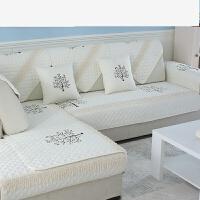 沙发垫子全棉四季沙发套罩巾通用坐垫防滑三人座位1+2+3组合套装 树 /白