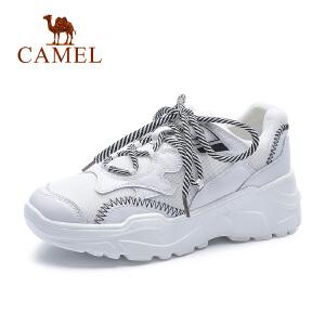 骆驼2018秋季新款白色运动鞋ulzzang女鞋韩版真皮小白单鞋百搭