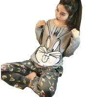 2018春秋季睡衣女士韩版长袖家居服纯棉卡通可爱女生莫代尔两件套