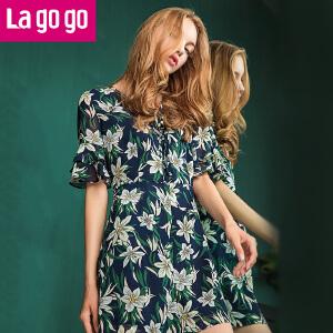Lagogo2017夏季新款时尚印花高腰阔腿连体裤女短袖收腰显瘦短裤