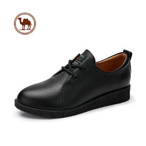 骆驼牌运动鞋女真牛皮系带平底鞋中老年人大码软底防滑皮鞋健步鞋