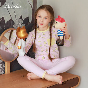 【3件3折到手价:56】笛莎女童装2018秋季新款中大童家居服套装香蕉印花家居套装